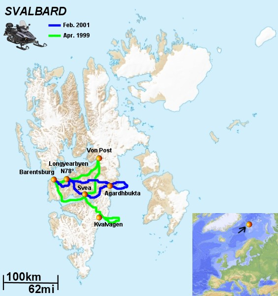 Svalbard travel information and travelogue from two winter Svalbard