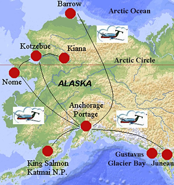 Travel to Alaska from Juneau in the southeast to Barrow north of – Alaska Travel Map